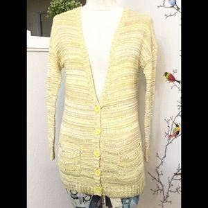 Olive & Oak Light Knit Yellow Long Cardigan XS